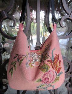 Vintage Needlepoint Roses and Flowers Pink, Blue, Green, Vintage Velvet, Rhinestone Brooch Handbag