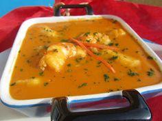 Crema de gambas y pescado,receta dieta,cocina tradicional.
