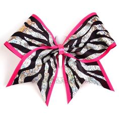 Zebra and pink cheer bow