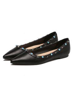 Black Studed Slip-on PU Ballet Flats