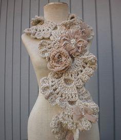#crochet #art scarf on Etsy