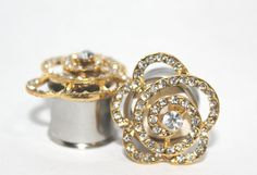 """Beautiful Gold Crystal Rose Plugs 1/2"""" 9/16"""" 5/8""""  13mm 14mm 16mm on Etsy, $45.00"""