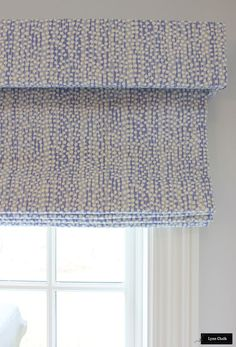 Custom Roman Shades by Lynn Chalk with Separate Box Valance in Quadrille Alan Campbell Mojave (shown in Periwinkle-comes in several colors) Custom Drapes, Window Treatments, Roman Shades, Home, Custom Roman Shades, House, Window Coverings, Box Valance, Custom Window Treatments