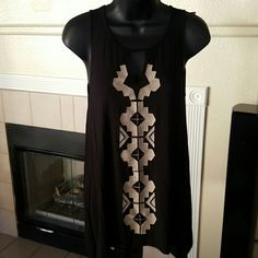 Embroidered Black and Tan Tank Tunic S/P Embroidered Black and Tan Tank Tunic  Size S/P. Beautiful Quality Dressy Tunic.  Excellent Condition. Tops Tunics