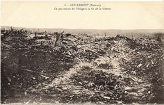 "WW1, July 30, 1916 - ""Guillemont, Somme: All that remains of the village at the end of the war."" Four battalions of the Liverpool Pals attacked Guillemont on July 30, but their attack did not go well from the beginning. A dense fog meant the artillery bombardment was valueless. Most of the German soldiers left their trenches and hid in No Man's Land, unseen. When the attackers went forward, machine gun bullets came streaming through the fog into their ranks."