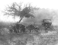 Blue Spaders training in preparation for the Battle of Cantigny in Breteuil, France, with French tank maneuvers, May 11, 1918.