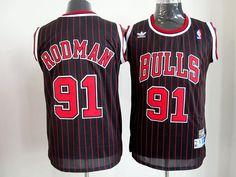 Adidas NBA Chicago Bulls 91 Dennis Rodman Black Red Stripe Red Stripe Throwback Swingman Jersey