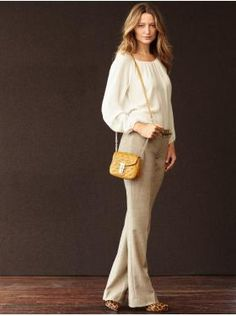 Banana Republic outfit - great peasant blouse and Mad Men collection pumps