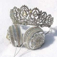 """""""Grand Countess"""" - Lit Headphones - Crown Headphones and Tiara Headphones Crown Headphones, Cute Headphones, Things To Buy, Girly Things, Apple Watch Bands Fashion, Accesorios Casual, Accessoires Iphone, Kawaii Accessories, Cinderella Shoes"""