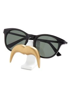 Temporary Mu-stash Glasses Stand in Handlebar - Gold, White, Solid, Quirky #modcloth