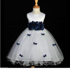 White Peacock papillons fleur fille robe cravate par ekidsbridalusa