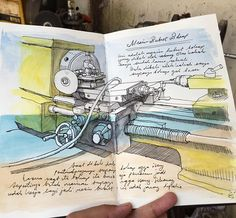My father's lathe #sketch #sketching #sketchbook #machine #lathe #drawing #drawingpen #fountainPen #TravelSketcher #sketchwalker