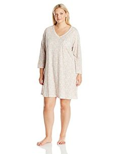 875e9915a95e9 Carole Hochman Women s Plus Size 3 4 Sleeve Novelty Print Sleepshirt