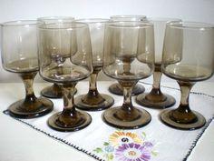 Vintage Smoky Brown Glassware Set 8 Piece Set by chloeswirl