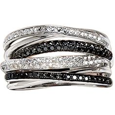 Effy Collection Black And White Diamond Ring In14 Kt. White Gold, .56 Ct. T.W. found on Polyvore