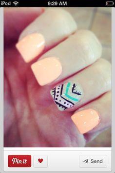 Peach Aztec nail design!!! Love it