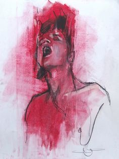 Guy Denning - 'coming' oil, conte and pastel on paper, 50 x 60 cm, 2013