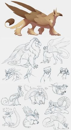 I would like to see an animated show with this kind of smooth art. Griffins by hibbary.deviantart.com on @deviantART