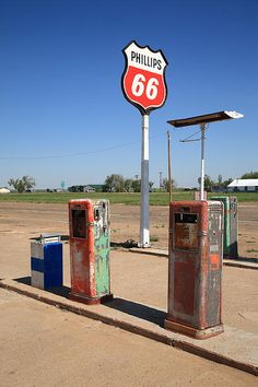 Route 66 Fine Art photography. A vintage Rt. 66 Phillips 66 filling station in Adrian, Texas, with rusty gas pumps.