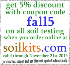 "Fall is a is an important time for Soil Testing because the sooner you get the results, the sooner you can apply recommendations to achieve higher crop yields next year.  Right now, you can save 5% off Soil Testing by using the ""fall5"" Coupon Code for purchases at soilkits.com.  http://www.texasplantandsoillab.com/lab-testing/?p=1262 #tpsl #ag #cornbelt #lab #agriculture #AgTech #Agronomics #BioTech #Corn #Farm #Farming #Farmers #Soybean #Wheat"