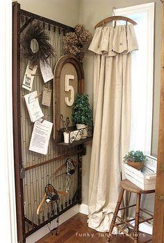 Soporte de suspensión a través de cortinas de tela Vintage Interiors Funky Junk