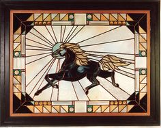 """Running horse"" - Jesse Heron stained glass"