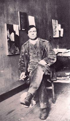 Amedeo Modigliani in his studio at le Bateau Lavoir, Montmartre, Paris, 1915.