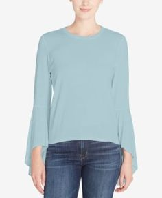 Catherine Catherine Malandrino Carter Bell-Sleeve Top - Blue XL