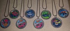 Set of 8 Blaze & The Monster Machines Flat Bottlecap Necklaces! Fast Shipping!! by OneStopBottlecaps on Etsy