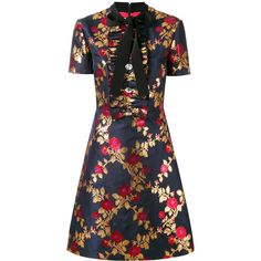 Gucci Metallic Floral Dress (€2.900) ❤ liked on Polyvore featuring dresses, party dresses, short sleeve dress, short sleeve floral dress, floral dresses and navy turtleneck