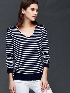Cotton stripe essential V-neck sweater | Gap