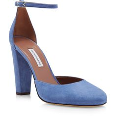 Tabitha Simmons     Petra Suede Pumps ($245) via Polyvore featuring shoes, pumps, blue, suede shoes, suede ankle strap pumps, round cap, rounded toe pumps and block heel shoes