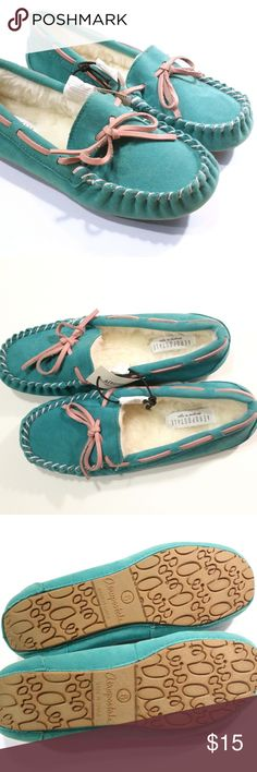 NWT Turquoise Aeropostale Mocassin Slippers Turquoise microfiber faux suede mocassin slippers with cute, dusty-pink lacing. Fuzzy, cosy inside but still breathe. Good tread on them, hard to find with slippers. Never worn, only tried on in the store. New with tags! US 6 true to size. Aeropostale Shoes Moccasins
