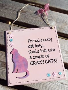 CRAZY CAT LADY wooden plaque  hand-painted by KatijanesCreations