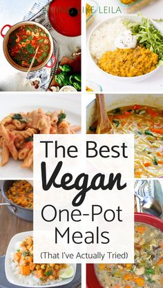 best vegan one pot meals that I've actually tried! These dishes are simple, quick, and so delicious! Check them out at .The best vegan one pot meals that I've actually tried! These dishes are simple, quick, and so delicious! Check them out at . Best Vegan Recipes, Vegan Dinner Recipes, Healthy Recipes, Whole Food Recipes, Cooking Recipes, Vegetarian One Pot Meals, Quick Vegan Meals, Instapot Vegan Recipes, Cheap Vegan Meals