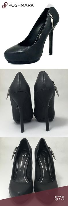 """Rock & Republic 'CELINA' shoes Women's Sz 6 1/2• BRAND NEW black smooth leather (although out) pumps• 5"""" stiletto heels, 1"""" covered platform• leather upper and sole• dust bag and shoebox included. Rock & Republic Shoes Heels"""