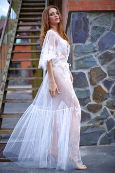 Tulle and Lace Bridal Robe Beautiful airy dress. Bridal Nightgown, Bridal Robes, Bridal Boudoir, Wedding Lingerie, Satin Dresses, Lace Dress, White Bridal Robe, Style Kimono, Pretty Lingerie