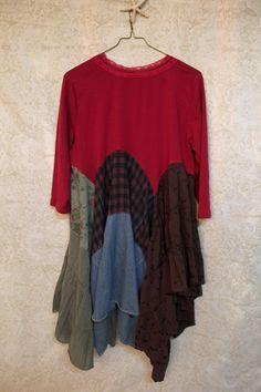 Boho Plus Size Knit Shirt, Shabby Chic Romantic, Bohemian Junk Gypsy Style, Mori Girl, Lagenlook