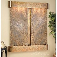 Cottonwood Falls Wall Fountain with Brown Rainforest Marble in Rustic Copper Indoor Waterfall Fountain, Indoor Water Fountains, Indoor Fountain, Wall Fountains, Outdoor Fountains, Diy Tisch, Fountain Design, Fountain Ideas, Tabletop Fountain