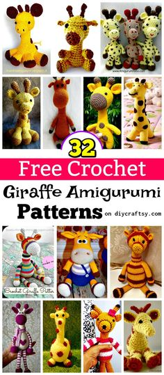 This time we are here with 32 free crochet giraffe amigurumi patterns that will please everyone who is a fan of giraffe or just the safari animals!