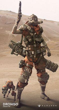 "Cyberpunk - aliapulchraes: "" Drongo by Zak Foreman "" Art Apocalypse, Apocalypse World, Arte Cyberpunk, Armor Concept, Concept Art, Art Fallout, Post Apocalyptic Art, Apocalyptic Fashion, Arte Robot"
