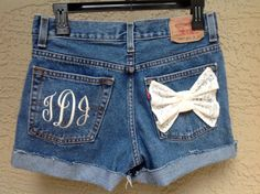 Monogram+Pocket+High+Waisted+Denim+Shorts+Embroidered+by+suznews,+$40.00