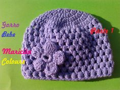 Tutorial Crochet Ganchillo Gorro para Bebe Lila (Parte 1), super fácil de tejer para principiantes! Paso a Paso, Tutorial easy Baby Beanie Hat- for Beginners...