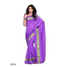 Purple bhagalpur cotton saree with shinning border 212adf - Online Shopping for Designer Sarees by Muhenera