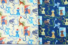 Kitty Cat Fabric 1/2 Yard Cotton Fabric, Cat Fabric in Blue and Cream, Case, Book Cover, Purse, Scrapbooking by PloyjaiFabric on Etsy