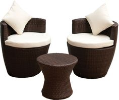 Homestyle GB Rattan Stacking Set - Side Table with 2 Chairs