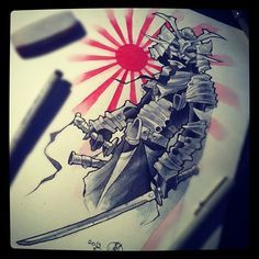 Instagram media by mvtattoo - #tattoo #flash #samurai #watercolor