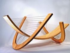 Contemporary furniture designer Robby Cuthbert creates stunning, sculptural furniture using principals of tensegrity in his designs. Furniture Making, Wood Furniture, Furniture Design, Motif Art Deco, Lounge Chair Design, Cuthbert, String Art, Contemporary Furniture, Woodworking Projects