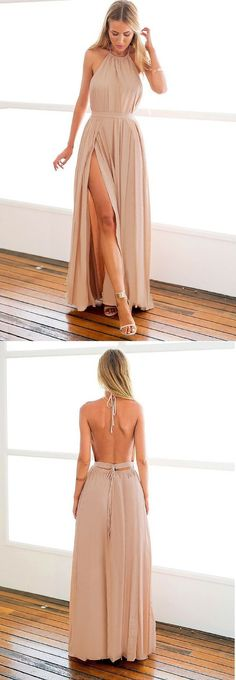 Halter Nude Maxi Dress, Sexy Backless Prom Dress, Slit Prom Dress, Nude M-slit Halter Dress, Party Dress
