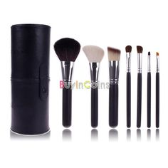 7 PCS Black Makeup Brush Cosmetic Brushes Tool Set Kit With Cup Holder Case -- BuyinCoins.com